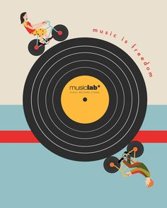 "Advertising Illustrations for the record store ""Music Lab"" Vinyl Record Store, Vinyl Records, Dance Quotes, Music Quotes, Dance Sayings, Mixtape, Musik Player, Music Logo, Dj Music"