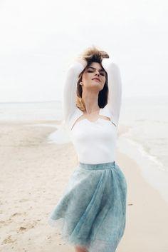 Jersey blouse with net insets B071. Ecru. von Fanfaronada  auf DaWanda.com