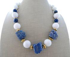 White jade necklace, blue lapis lazuli chunky necklace, big bold necklace, stone choker, beaded necklace, italian jewelry, modern jewelry
