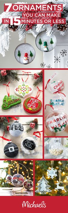 Handcrafted ornaments are a great way to add a special touch to your tree, but it doesn't have to take you forever! These 8 DIY ornaments can be made in 15 minutes or less. They also make great present toppers or last minute gift ideas for family or friends. For more ideas and inspiration, visit http://Michaels.com