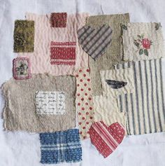 Art quilt on antique linen Two hearts on a wing by ColetteCopeland, $65.00
