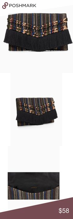 """NWT Stella & Dot Taj Clutch - metallic ITEM DESCRIPTION This boho inspired metallic fringe trimmed clutch is the ultimate festive finish the look piece. It's hand woven in India and sure to dazzle!  Measurements: 8 1/4"""" Height x 12 1/2"""" Length Exterior: Metallic multi-colored handloom fabric Interior: 1 large open pocket with 6 credit card slots Lining: Polyester Hardware: Magnetic snap closure Stella & Dot Bags Clutches & Wristlets"""