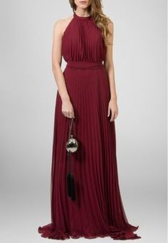 Vestido longo frente única plissado vinho Powerlook - powerlook-V-MOB