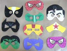 Trenton birthday.....Printable super hero masks!! what a great idea for a birthday party craft!!!