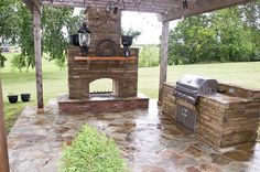 back porch with fireplace