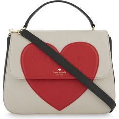 Kate Spade New York Be Mine Heart Alexya leather shoulder bag (1,700 MYR) ❤ liked on Polyvore featuring bags, handbags, shoulder bags, purses, red purse, red leather shoulder bag, red leather handbags, leather man bags and evening handbags