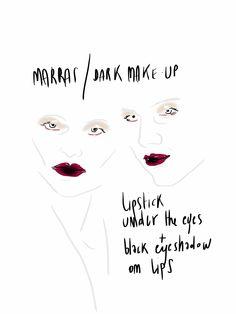 #Makeup #Beauty #Fashionillustration by Open Toe opentoeillustration.com /  Dramma in due atti: nel primo il rossetto passato sulle labbra colora anche la palpebra inferiore, simulando uno sguardo provato e intenso; nel secondo la polvere nera dell'ombretto scende sulla bo...
