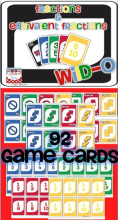 Decimals and fractions - played like UNO Math Resources, Math Activities, Math Games, Decimal Games, Math Fractions, Equivalent Fractions, Dividing Fractions, Fifth Grade Math, Math Intervention