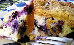 Blueberry cream Coffee cake could make as muffins The cream cheese makes all the difference in the texture. The streusel topping creates a great contrast. Enjoy the fruits of the season. Just Desserts, Delicious Desserts, Yummy Food, Sweet Recipes, Cake Recipes, Dessert Recipes, Key Food, Blueberry Recipes, Tasty Kitchen