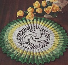 Vintage Crochet PATTERN to make Sunburst Pleated Ruffled Doily Mat Centerpiece SunburstRuffle