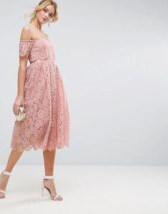 ASOS Cold Shoulder Lace Prom Midi Dress
