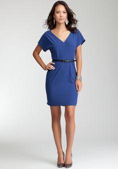 Bebe Back Hem Peplum Dress - Blueprint - S