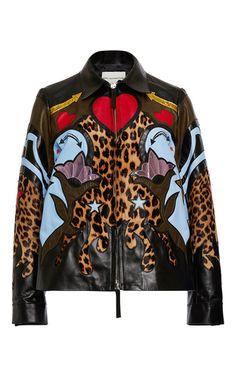 Rogers Laser Cut Leather Jacket by MARY KATRANTZOU for Preorder on Moda Operandi
