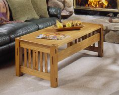 Arts and Crafts Coffee Table and Ottoman Woodworking Plan, Furniture Tables - Wood Magazine plan Arts And Crafts Storage, Arts And Crafts Furniture, Arts And Crafts House, Wood Furniture, Woodworking Ideas Table, Woodworking Projects That Sell, Woodworking Plans, Woodworking Supplies, Coffee Table Plans