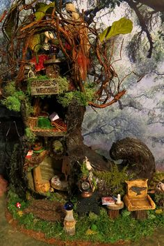 This indoor woodland fairy house is named, Faery Gypsy Witch and is within my Woodland Fairy Village collection©.    This woodland fairy