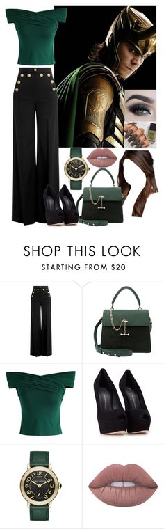 """""""Loki."""" by annacastrolima ❤ liked on Polyvore featuring RED Valentino, Luana, Chicwish, Giuseppe Zanotti, Marc Jacobs and Lime Crime"""