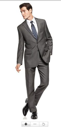 Calvin Klein Suit Separates, Charcoal Pindot 100% Wool Slim Fit