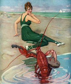 The Serenade from the June 20, 1914 cover of Puck magazine. A beautiful young women in a bathing suit is serenaded on the beach by a lobster playing a banjo. Illustrated by Brynolf Wennerberg.