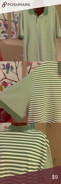 LACOSTE, 8, grass-green, striped polo LACOSTE, 8, grass-green, striped polo, stripes are a different size on front, back and sleeves Lacoste Shirts Polos