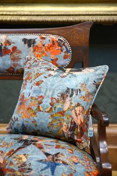Antique sofa in 'Mary' velvet with 'Mary' cushion. Part of our Tudors collection. Blackpop.co.uk