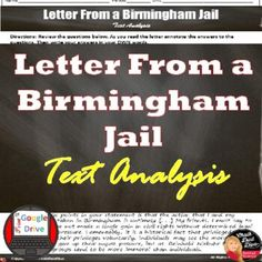 Letter From a Birmingham Jail Text Analysis |Print & Digital | Distance Learning Creative Teaching, Teaching Science, Social Science, Civil Rights Movement, Teaching Strategies, Learning Centers, Critical Thinking, Teacher Resources, Birmingham