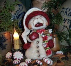 "Primitive Frosty Winter 7"" Snowman Doll ★ Vtg Patti's Ratties Valentine Bear"