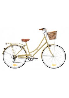 Perfect for everyday transport, visiting friends or just rolling to the local café. Our popular Vintage frame strikes the perfect balance between upright position and a sporty look.    7 speed Shimano gears for ease of use  Comfortable, upright riding position for cruising  Classic finishing touches like white wall tyres and sweeping handlebar  Add style to your bike with our basket kit upgrade including cane basket  Available in a range of colours  The bike also includes a rear rack, bell…