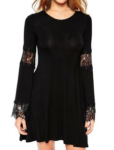 Allegra K Women's Crew Neck Long Bell Sleeves Lace Panel Tunic Dress Black (Size M / 8)