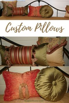 Custom Pillows : Custom pillows add that finishing touch every room needs. They add beauty and cozy comfort to this daybed makeover. Orange Pillow Covers, Orange Pillows, Diy Pillows, Custom Pillows, Cushions, Painted Furniture, Diy Furniture, Furniture Projects, Custom Valances