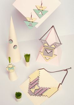 """Jewelry collection """"Ethnotize - summer edition"""" by Rename. Laser cut hand painted wood."""