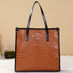 crocodile pattern leather hobo bag