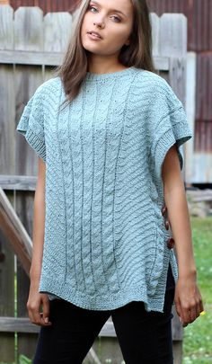 Free Knitting Pattern for Firefly Poncho - Open-sided pullover with panels of mock cables framed by a repeat herringbone slipped stitch texture. Sizes Extra Small/Small (Medium/Large, Designed by Rachel Brockman for Universal Yarn. Knit Vest Pattern, Poncho Knitting Patterns, Knitting Stitches, Knit Patterns, Free Knitting, Knitted Poncho, Knitted Shawls, Knitted Blankets, Poncho Design