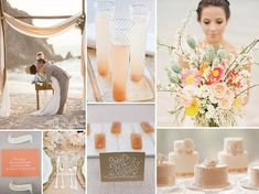 Original Pin: beach wedding inspiration My Opinion: bottom right were inspiration for our cake centerpieces ~Rachel