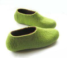 4da392bb9521 Items similar to Womens Felted Wool Elf Slippers Greenery