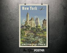 New York - United Air Lines - 1960s Vintage Air Travel Poster // High Quality Fine Art Reproduction Giclée Print by TheRetroPoster on Etsy