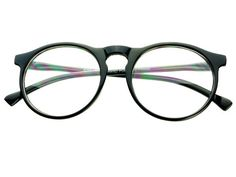 Clear Lens Round Glasses Retro Style Black R401