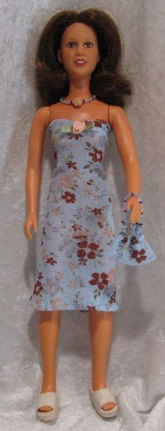 PRINCESS LEIA Star Wars Doll Clothes #15 Dress, Purse & Beaded Necklace Set #HandmadebyESCHdesigns