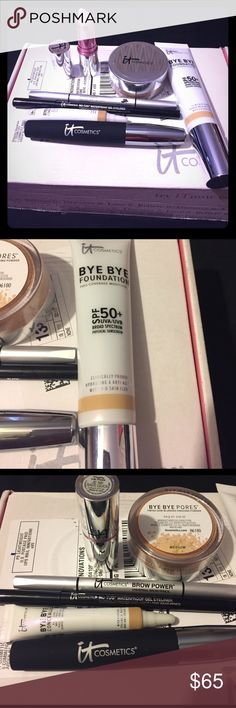 It! Cosmetics 7-piece bundle BNIB! This was on auto-shipment, and I just wasn't a fan of the brand. This comes with the full-size universal brow pencil (for any color), full-size mascara (black), full-size lip stick (Je Ne Sais Quoi, goes on and has a sheer pink/natural tint), full-size waterproof eyeliner (black), and full-size powder, foundation, and concealer in color medium. My loss is your gain! These products would sell for over $150 separately. Price is firm. Just want what I paid…