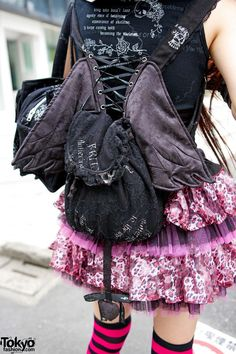 Lace Backpack with Wings. I could totally make this