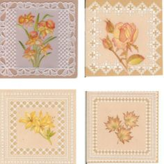 Pack 041 - Frames Flowers 'A' - Four colorful flower designs with beautiful lacy borders http://www.cccollection.co.uk/original-parchment-craft-patterns-and-packs/christine-coleman-pattern-packs?page=4