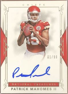 2017 Patrick Mahomes II National Treasures Rookie Signatures 01 99 1 1  Chiefs fdd952125