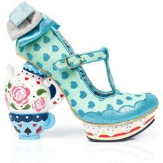 Irregular Choice Alice in Wonderland Collection My Cup of Tea Blue... ($145) ❤ liked on Polyvore featuring shoes, glitter shoes, high heel platform shoes, turquoise shoes, irregular choice and blue shoes