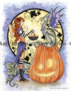 "Amy Brown: Fairy Art - The Official Gallery - Halloween ""Dragons Love Candy Corn"""