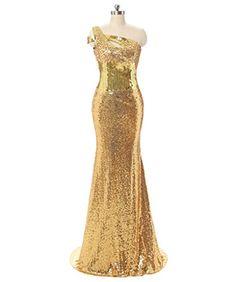 Dressytailor 2017 Mermaid One Shoulder Golden Sparkly Sequins Long Prom Dress Evening Dress