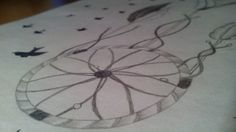 I drew dream catcher and birds on my notebook thought holiday. I was bored.