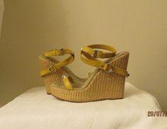 Prada yellow wedge  sandals with box Sz EURO 40(9.5 U.S),excellent condition! #PRADA #PlatformsWedges