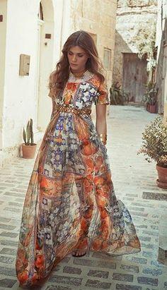 Dolce Gabbana embellished printed brocade and silk-chiffon dress.