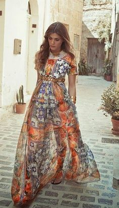 Dolce and Gabbana // mix print flowy maxi // bohemian couture chic street style
