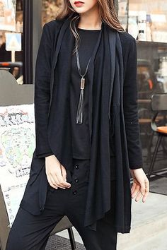 Casual Turn-Down Collar Black Long Sleeve Cardigan For Women