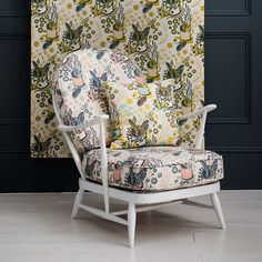 Ercol chair upholstered with Angie Lewin's Nature Table fabric from St. Jude's.